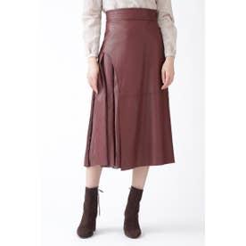 [美人百花掲載]◆ブロックフェイクレザースカート BORDEAUX