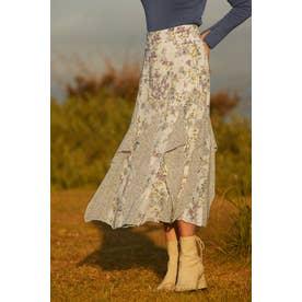 ◆ミックススフラワープリントスカート CHALK
