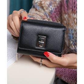 回転金具 三つ折りミドル財布 (BLK/BLK)