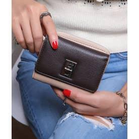 回転金具 三つ折りミドル財布 (BEG/DBRN)
