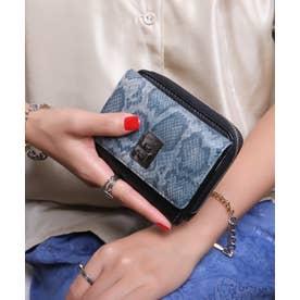 回転金具 三つ折りミドル財布 (BLU/PYT)