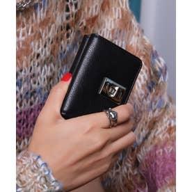 回転金具 三つ折りミニ財布 (BLK/BLK)