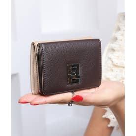 回転金具 三つ折りミニ財布 (BEG/DBRN)
