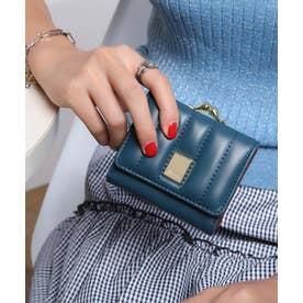 ストライプステッチ がま口ミニ財布 (DBLU)
