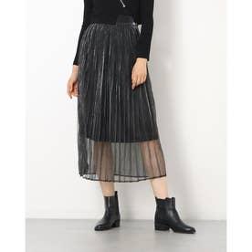 シースルーシャイニープリーツスカート (BLK)