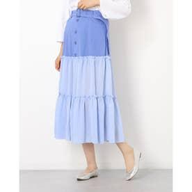 フロントボタンシースルースカート (BLU)