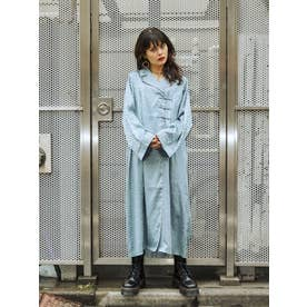 【WEB限定】チャイナルーズシャツワンピース(アイスブルー)