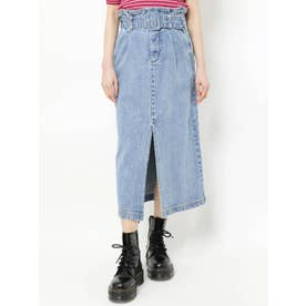 【WEB限定】カラーステッチスリットスカート(アイスブルー)
