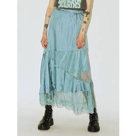 【WEB限定】ブロッキングマーメイドレーススカート(ブルー)