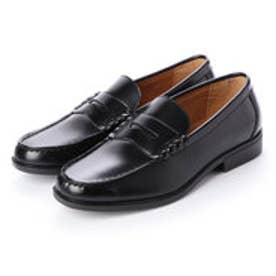 メンズ ローファー 学生靴 軽量 履き心地 クッション性 防滑 防臭 撥水加工 幅広 3E 通勤 通学 (ブラック)