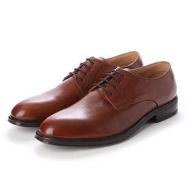 メンズ ビジネスシューズ 牛革100% 紳士靴 プレーントウ ドレスシューズ 防滑 (ブラウン)
