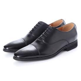 日本製 本革 メンズ ビジネスシューズ 紳士靴 ストレートチップ 内羽根 防滑 (ブラック)
