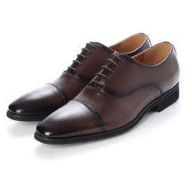 日本製 本革 メンズ ビジネスシューズ 紳士靴 ストレートチップ 内羽根 防滑 (ブラウン)