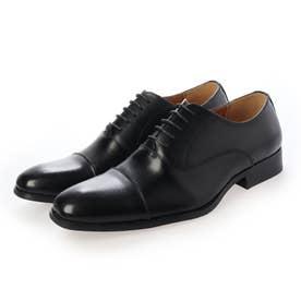 本革 メンズ ビジネスシューズ 紳士靴 ストレートチップ ドレスシューズ 内羽根 防滑 (ブラック)