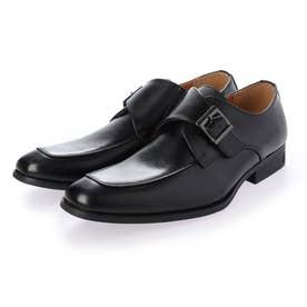 本革 メンズ ビジネスシューズ 紳士靴  モンクストラップ ドレスシューズ 防滑 (ブラック)