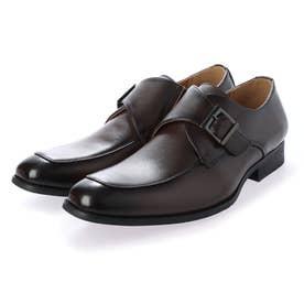 本革 メンズ ビジネスシューズ 紳士靴  モンクストラップ ドレスシューズ 防滑 (ブラウン)