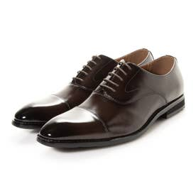 本革 メンズ ビジネスシューズ 紳士靴 ストレートチップ ドレスシューズ 内羽根 防滑 (ブラウン)