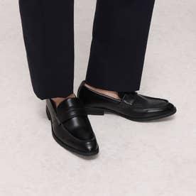 本革 メンズ ビジネスシューズ Uチップ ローファー 紳士靴  防滑 (ブラック)