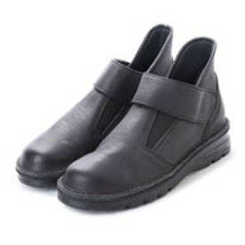 幅広・軽量ナチュラルレザーショートブーツ (ブラック)