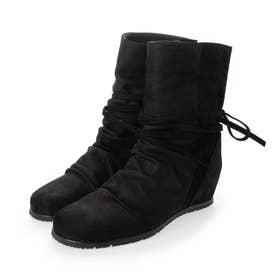 リボンデザインインヒールブーツ (ブラック)