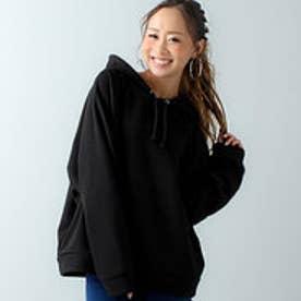 袖ゆったりオーバーサイズパーカー/ビッグサイズ/春夏秋冬 (ブラック)