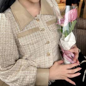 裾フリンジショートツイードジャケット (ベージュ)