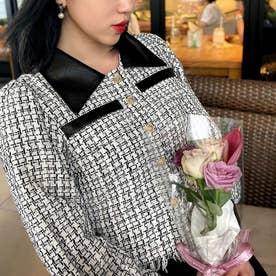 裾フリンジショートツイードジャケット (ホワイト)