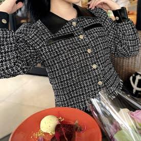 裾フリンジショートツイードジャケット (ブラック)