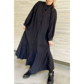 スタンドフリルマーメイドスカートシャツワンピース (ブラック)
