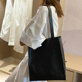 型押しトートバッグ 韓国ファッション (ブラック)