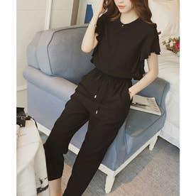 フレンチスリーブフリルセットアップ 韓国ファッション (ブラック)