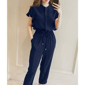 フレンチスリーブフリルセットアップ 韓国ファッション (ネイビー)