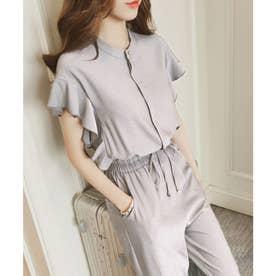 フレンチスリーブフリルセットアップ 韓国ファッション (グレー)