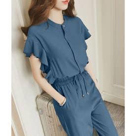 フレンチスリーブフリルセットアップ 韓国ファッション (ブルー)