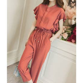 フレンチスリーブフリルセットアップ 韓国ファッション (ピンク)
