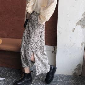 スリット入りレオパードロングスカート 韓国ファッション (ホワイト)