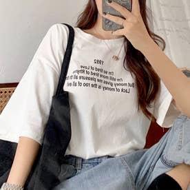 ハーフスリーブプリントTシャツ 韓国ファッション (ホワイト)