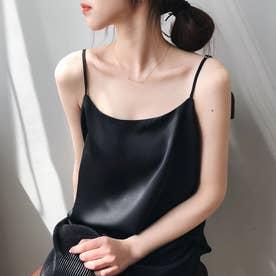 サテン風キャミソール 韓国ファッション (ブラック)