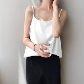 サテン風キャミソール 韓国ファッション (ホワイト)