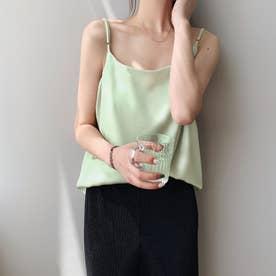 サテン風キャミソール 韓国ファッション (ミント)