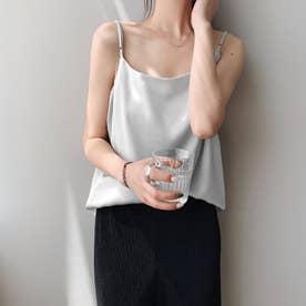 サテン風キャミソール 韓国ファッション (ライトグレー)