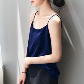 サテン風キャミソール 韓国ファッション (ネイビー)