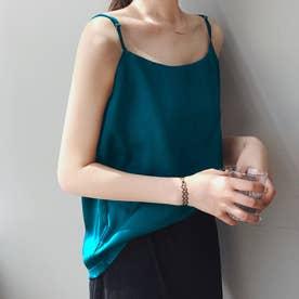 サテン風キャミソール 韓国ファッション (ブルーグリーン)