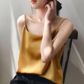 サテン風キャミソール 韓国ファッション (ゴールド)