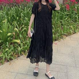 ワッシャープリーツティアードシアーワンピース 韓国ファッション (ブラック)