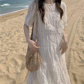 ワッシャープリーツティアードシアーワンピース 韓国ファッション (ホワイト)