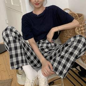 チェック柄タックワイドパンツ 韓国ファッション (ホワイト×ブラック)