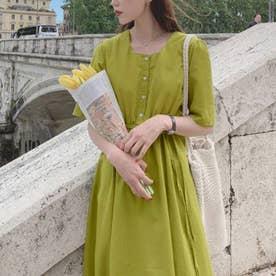 スクエアネックウエストマークワンピース 韓国ファッション (グリーン)