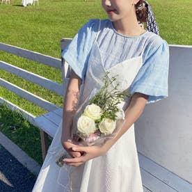 バックリボンキャミソールAラインワンピース 韓国ファッション (ホワイト)