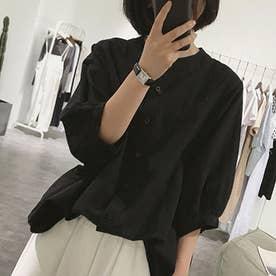 ノーカラーボリュームスリーブコットンシャツ 韓国ファッション (ブラック)